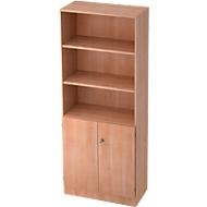 Combi-boekenkast, 5 OH, 3 open vakken + 2 afsluitbare deuren, B 800 x D 420 x 2004 mm, notenhoutdecor