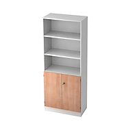 Combi-boekenkast, 5 OH, 3 open vakken + 2 afsluitbare deuren, B 800 x D 420 x 2004 mm, wit/notenhoutdecor