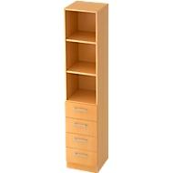 Combi-boekenkast, 5 OH, 3 open vakken + 4 laden, B 406 x D 420 x H 2004 mm, beukendecor