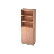 Combi-boekenkast, 6 OH, 3 open vakken + 2 afsluitbare deuren, B 800 x D 420 x 2210 mm, notenhoutdecor