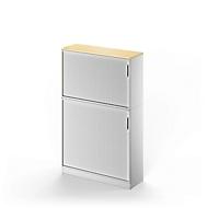 Combi roldeurkast TETRIS SOLID, 5 ordnerhoogten, B 1200 mm, vloerkast + opzetkast, esdoornpatroon/blank aluminium