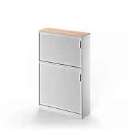 Combi roldeurkast TETRIS SOLID, 5 ordnerhoogten, B 1200 mm, vloerkast + opzetkast, kersen-Romana/wit aluminium