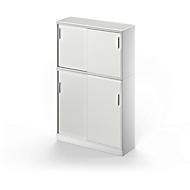 Combi schuifdeurkast TETRIS SOLID, 5 ordnerhoogten, B 1200 mm opzetkast + vloerkast, afdekplaat, lichtgrijs/blank aluminium