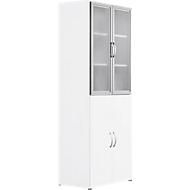 Combikast PALENQUE, 6 ordnerhoogten, houten/glazen deuren, hangmappenlade, B 800 x D 420 x H 2160 mm, wit