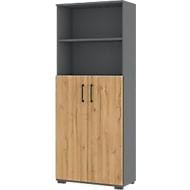 Combikast Profi 2.0, gemaakt van hout, 2 draaideuren, 5 OH, 2 open vakken, B 800 x D 400 x H 2000 mm, Kleinzoon eik/grafiet