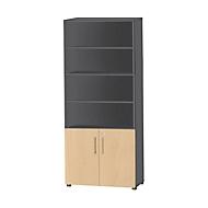 Combikast Start Up, 6 ordnerhoogten, 2 ordnerhoogten met deur, afsluitbaar, B 800 x D 420 x H 2196 mm, grafiet/esdoorn