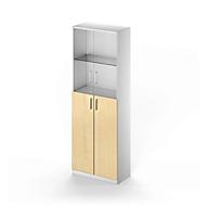 Combikast TETRIS SOLID, 6 ordnerhoogten, glazen deuren en vleugeldeuren, B 800 mm, afsluitbaar, glas/esdoornpatroon/blank aluminium