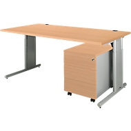 COMBITEC Schreibtisch 1600 mm + Rollcontainer 1233 SET, Buche-Dekor/weißalu