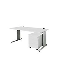 COMBITEC Schreibtisch 1600 mm + Rollcontainer 1233 SET, lichtgrau/weißalu