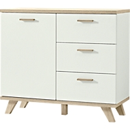Commode OSLO, 3 schuifladen, B 960 x D 400 x H 850 mm, wit/Sanremo-eik-nb.