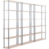 Complete aanbieding 3 boekenkasten, elk met 6 legborden (5 ordnerhoogten)