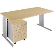 Complete aanbieding COMBITEC bureautafel + verrijdbaar ladeblok, esdoorn/blank aluminium