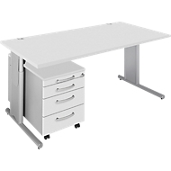Complete aanbieding COMBITEC bureautafel + verrijdbaar ladeblok, lichtgrijs/blank aluminium