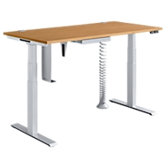 Complete aanbieding MODENA FLEX 5-delig, bureautafel elektr. in hoogte verstelbaar, PC-houder + schuiflade, beuken