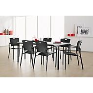 Complete aanbieding tafel en 6 stapelstoelen, tafelbreedte 1600 mm, met armleuningen