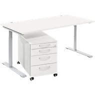 Complete meubelset Modena Flex, bureautafel B 1600 mm, in hoogte verstelbaar en verrijdbaar ladeblok, wit