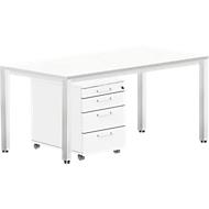 Complete set BEXXSTAR, bureautafel 1600 mm breed en verrijdbaar ladeblok, poot vierkante buis, wit