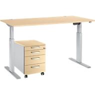Complete set bureautafel en verrijdbaar ladeblok ERGO-T, ééntraps in hoogte verstelbaar, tafel B 1600 mm, esdoornpatroon