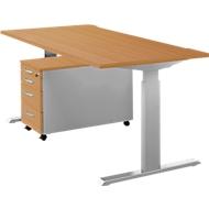 Complete set bureautafel en verrijdbaar ladeblok ERGO-T, handmatig in hoogte verstelbaar met inbussleutel, tafel B 1600 mm, beuken