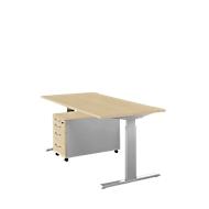 Complete set bureautafel en verrijdbaar ladeblok ERGO-T, handmatig in hoogte verstelbaar met inbussleutel, tafel B 1600 mm, esdoorn