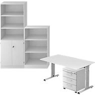 Complete set bureautafel/verrijdbaar ladeblok/kast met legborden/archiefrek ULM, lichtgrijs