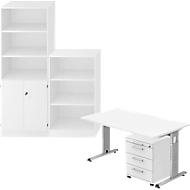 Complete set bureautafel/verrijdbaar ladeblok/kast met legborden/archiefrek ULM, wit