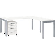 Complete set LOGIN, Bureautafel 1800 mm met vier poten, Aanbouwtafel met 4 poten, verrijdbaar ladeblok, wit