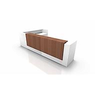 Comptoir avec retour SPEZIA, l. 4055 x P 2455 x H 1130 mm, blanc/noyer Canaletto