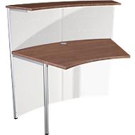 Comptoir Milano, comptoir d'appoint 45°, blanc/aluminium argenté