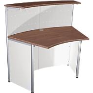 Comptoir Milano, comptoir de base 45°, blanc/aluminium argenté