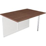 Comptoir Milano, table d'extension droite, blanc/aluminium argenté
