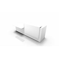 Comptoir SPEZIA, avec plateau l. 1400 mm, à droite, l. 3060 x P 1125 x H 1130 mm, blanc/blanc
