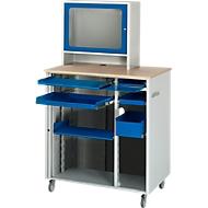 Computer-Station Typ 6018, B 1030 x T 660 x H 1810 mm,, fahrbar