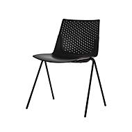 Conferentiestoel, set van 4, B 515 x D 535 x H 820 mm, stapelbaar tot 4 stuks, polypropyleen & staal gelakt, zwart