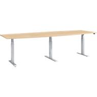 Conferentietafel, elektrisch in hoogte verstelbaar, ton, T-basis, B 2800 x D 800/1000 x H 640-1300 mm, ahorn/wit aluminium
