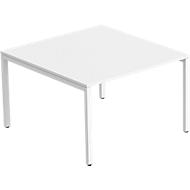 Conferentietafel Paperflow COLOR, rechthoekige vorm, vierkante buis met 4 poten, B 1200 x D 1260 x H 750 mm, bestand tegen ontsmettingsmiddelen, wit