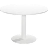 Conferentietafel Paperflow, voor 6 personen, rond, kolomvoet, Ø 115 cm, bestand tegen ontsmettingsmiddelen, wit