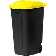 container met wielen, antraciet, Deksel geel