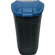 Container mit Rädern, anthrazit, Deckel blau