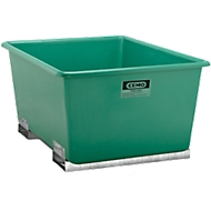 Conteneur CEMO avec manchons pour chariot élévateur, vert 1500L