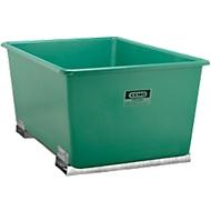 Conteneur CEMO avec manchons pour chariot élévateur, vert, 2200 l