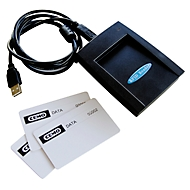 Datenübertragungsset CEMO mit 3 Datenübertragungskarten und Schlüsselleser, USB-Anschluss