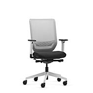 Dauphin Bürostuhl to-sync work mesh pro white, mit Armlehnen, Synchronmechanik, Flachsitz, Netzrücken, weiß/schwarz