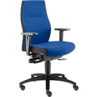 Dauphin bureaustoel SHAPE XTL, synchroonmechanisme, met armleuningen, zittijd langer dan 8 uur, met universele wielen, blauw