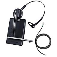 DECT-Headset Sennheiser D 10 Phone, schnurlos/monaural, mit Telefonadapter CEHS-DHSG, 55 m Reichweite