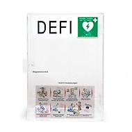 Defibrillator Plexiglas-Wandkasten, mit akustischem Alarm, mit Standort-Aufkleber