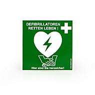 Defibrillator Standortaufkleber, B 200 x T 200 mm, grün