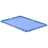 Deksel, voor Euronorm bakken, met klemmen, blauw