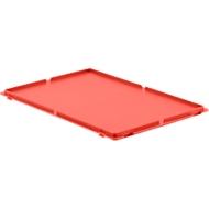 Deksel, voor Euronorm bakken, met klemmen, rood