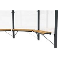 Design zitbank WSM f. Achthoekig paviljoen Paris, L 1000 mm, grenenhout, gepoedercoat staal, antracietgrijs